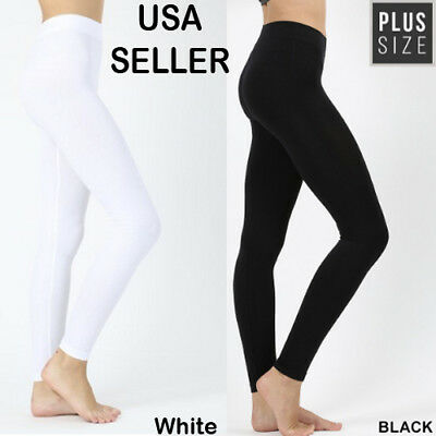 NEW Women PLUS Full Length Legging Stretch Pants Solid Cotton Yoga Gym 2X BLACK