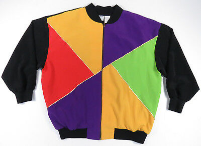 80S 90S Colorblock Full Zip Retro Jacket Vintage Nu Wave Made In Usa Womens 2X
