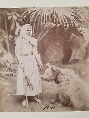 """Rare 18th C albumen photo of a man with tamed bear. 8"""" x 9 1/4"""""""