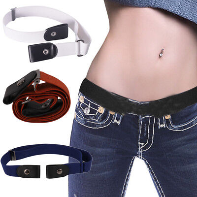 Unisex Buckle-free Elastic Invisible Waist Belt Jeans No Bulge Hassle Waistband