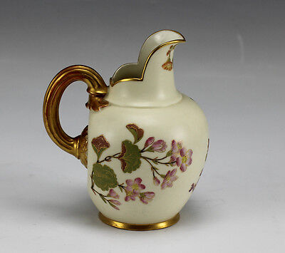 Royal Worcester Hand Painted Blush Ivory Floral & Gilded Pitcher #1094.