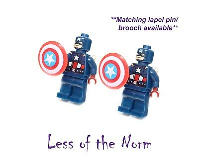 Lego CAPTAIN AMERICA Superhero Cufflinks Cuff Links Novelty Wedding Marvel Comic
