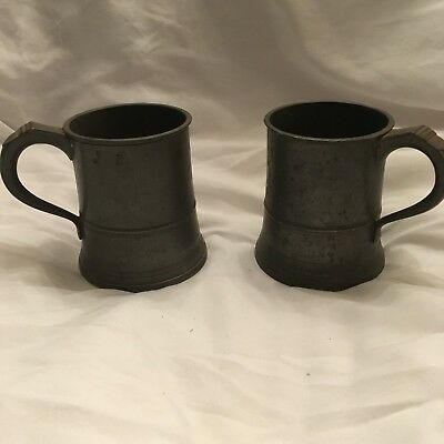 Antique Pewter Tavern Pub Mugs With Touchmarks