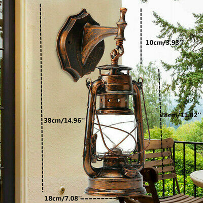 Retro Lantern Antique Vintage Rustic Lamp Wall Sconce Light Fixture Outdoor