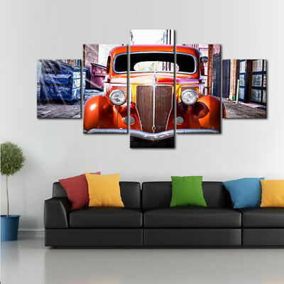 Vintage American Ford Classic Car Red Orange 5 Panel Canvas Print Wall Art Decor