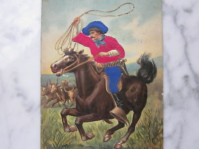 Antique Vintage Cowboy on Horse Lasso Embossed POSTCARD Flocked Rancher Steer