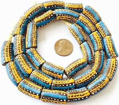 Ghana African Matched Fancy Blue multi Colored Recycled glass trade beads-Ghana