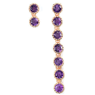 Enchanting Natural Aaa Purple Amethyst Round Sterling 925 Silver Earring