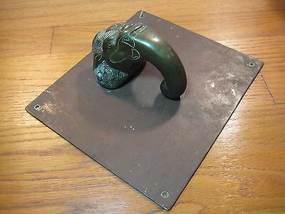 LARGE HEAVY Antique Vintage Solid Brass and Copper Elephant Head Door Knocker