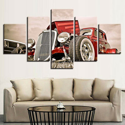 Vintage American Hot Rod Roadster Red 5 Panel Canvas Print Wall Art Home Decor