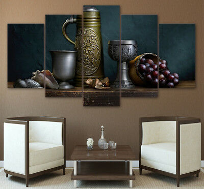 Old Antique Vintage Wine Decanter Muscadine Grapes 5 Panel Canvas Print Wall Art