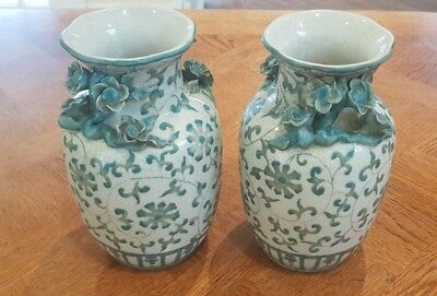2 x matching FLORAL EMERALD GREEN  vases floral pattern ceramic home decor
