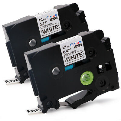 2PK Label Tape Compatible for Brother TZ-231 TZe-231 P-Touch Black On White 12mm