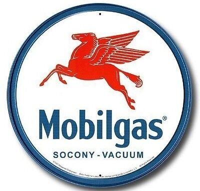 Mobilgas Pegasus Mobil Gas Station Round Vintage Metal Tin Sign