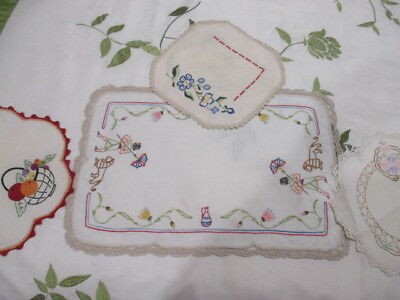Retro Mixture of Four Hand Embroidered Shabby Chic Kitsch Doilies. PRETTY!