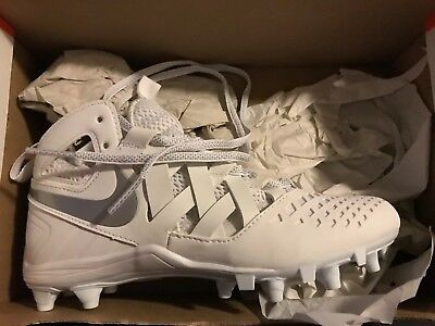 Nike Huarache V LAX Lacrosse Youth 4 4y White Silver Cleats  807142-100