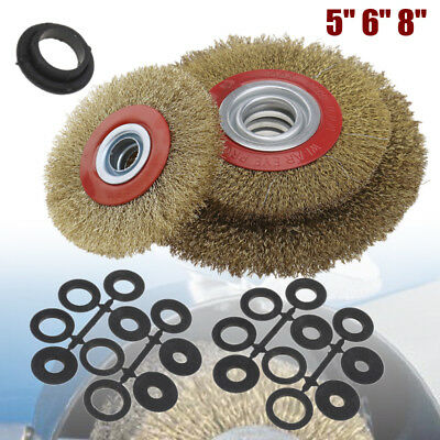 5'' 6'' 8'' Wire Brush Wheel for Bench Grinder Polish + Reducers Adaptor Rings