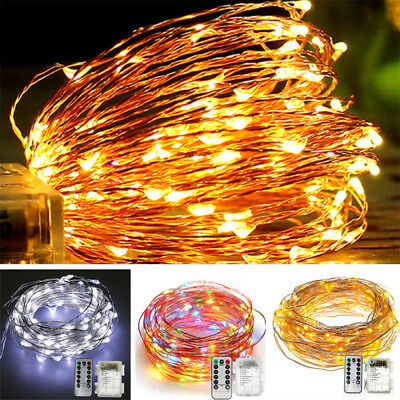 5m 10m LED Fairy String Light 8 Modes Waterproof W/ Remote Timer Twinkle Firefly
