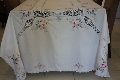 Large VINTAGE TABLECLOTH White Crosstitch Embroidered & Crocheted 262x225cm #20