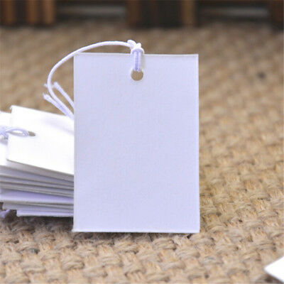 100Pcs White Paper Jewelry Clothes Label Price Tags With Elastic String 5*3cm PJ