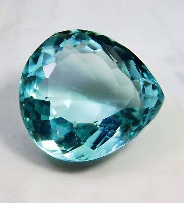 40.00cts. Natural  Pear Cut Translucent Ocean Aquamarine Loose Gemstone 1740