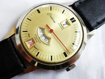 Vintage Endura Swiss Made Jump Hour Hand winding Men's Date Wristwatch. Work