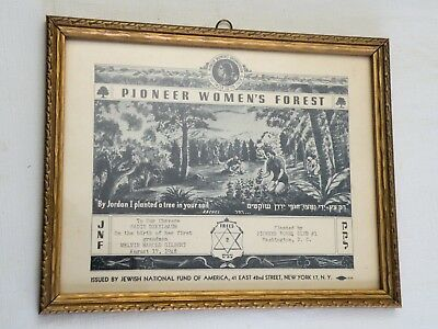 "Vintage 1948 Jewish National Fund Certificate, ""Pioneer Women's Forest"" Framed"