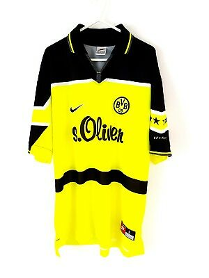 Borussia Dortmund Home Shirt 1997. Large. Nike. Yellow Adults Football Top Only