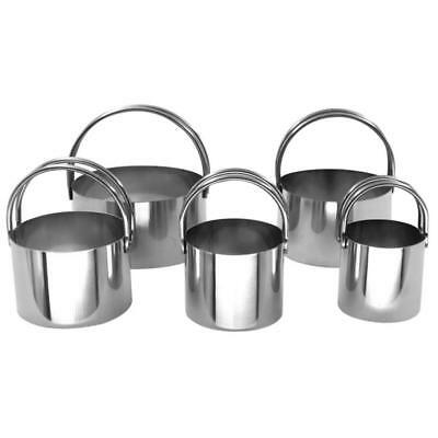 5PCS Ring Cake Mold Stainless Steel Mousse Round Biscuit Die Cutting with Handle