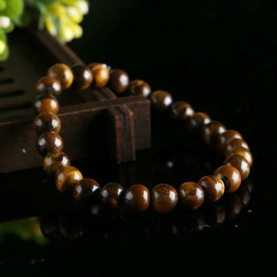 Natural Colorful Tiger Eye Stone Round Beads Stretchy Bracelet Bangle Jewelry