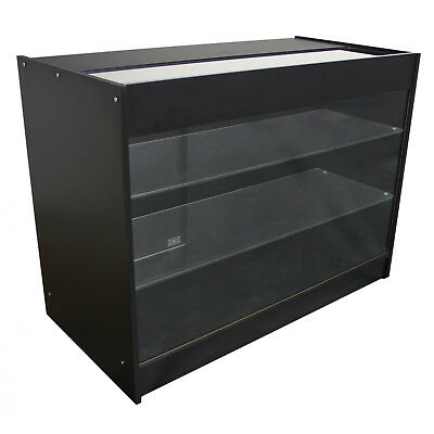 Retail Counter Glass Shelf Display Showcase Lockable Cabinet Black K1200