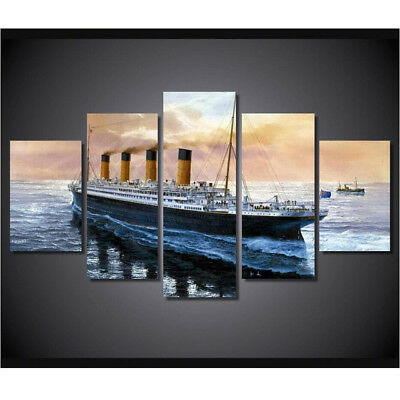 Vintage Ocean Cruise Ship Liner Poster 5 Panel Canvas Print Wall Art Home Decor
