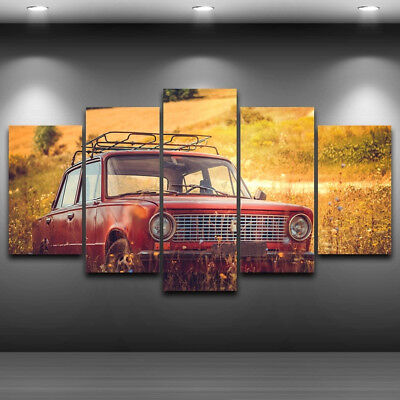 Classic Red Trabant Vintage Car Poster 5 Panel Canvas Print Wall Art Home Decor