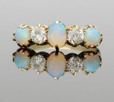 Victorian Fine Quality Opal & Diamond Gallery Ring