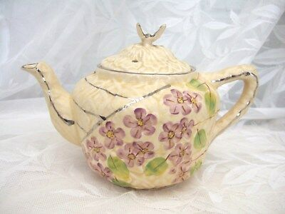Charming Vintage Hand Painted Teapot With Violets Teapot Called Butterfly C1920