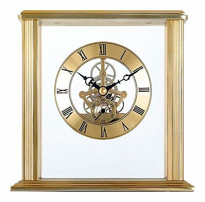 Acctim Vermont Stylish Brass Table Mantel Skeleton Movement Gold Clock