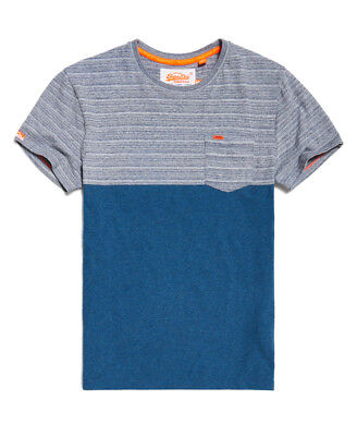 New Mens Superdry Graduate Block Stripe T-Shirt Spinners Navy Space Dye