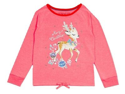 Ex Marks and Spencer Kids Girls Reindeer Print Pyjama Top Age 8 - 9 (P98.7)