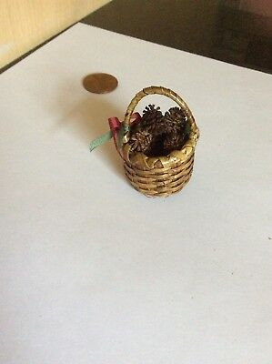 Dollhouse Miniatures Handcrafted By Amy Robinson Fireplace Basket Of Pine Cones