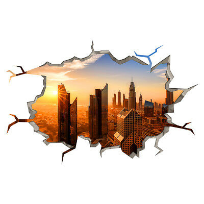 Wall Stickers City Buildings Skyline Sunrise Smashed Decal 3D Art Hole Room S317
