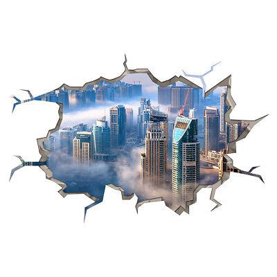 Wall Stickers City Skyline Buildings Clouds Smashed Decal 3D Art Hole Room S419
