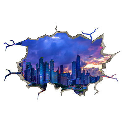 Wall Stickers City Scene Sunset Buildings Smashed Decal 3D Art Hole Room S387