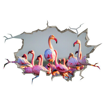 Wall Stickers Flamingo Birds Pink Girls Smashed Decal 3D Art Hole Room S560