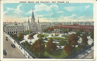 Old Vintage Jackson Square And Monument In New Orleans Louisiana Postcard