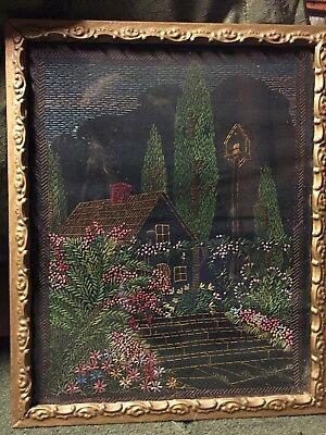 Antique Hand Embroidered Country Cottage in Antique Picture Frame