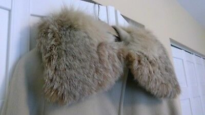 Vintage Real Fox Fur Collar - Wool Lined, Detachable
