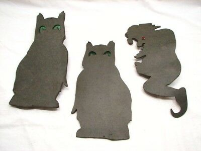 Lot Vintage Halloween Black Cat/owl Flying Witch On Broom Decorative Lights Lamp