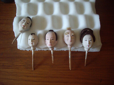 Antique Japanese Gufun Doll Heads on sticks real hair family excellent