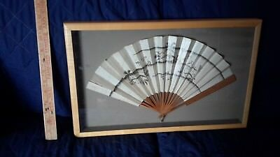 BEAUTIFUL PROFESSIONALLY FRAMED/MOUNTED ANTIQUE ASIAN FOLDING FAN(b)