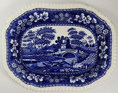 "Copeland Spode's Tower Blue Old Mark 9"" Oblong Rimmed Vegetable Serving Bowl - A"